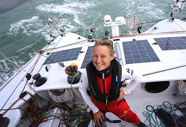 Pip Hare taking part in the round the world Vendee Globe yacht race