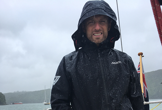 Yachting Monthly Editor Theo Stocker testing Musto LPX lightweight waterproofs