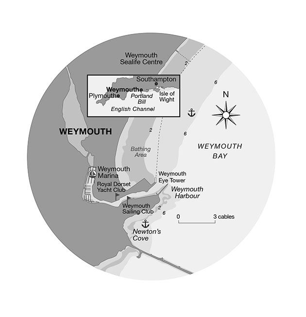 A chart showing where to anchor in Weymouth Bay