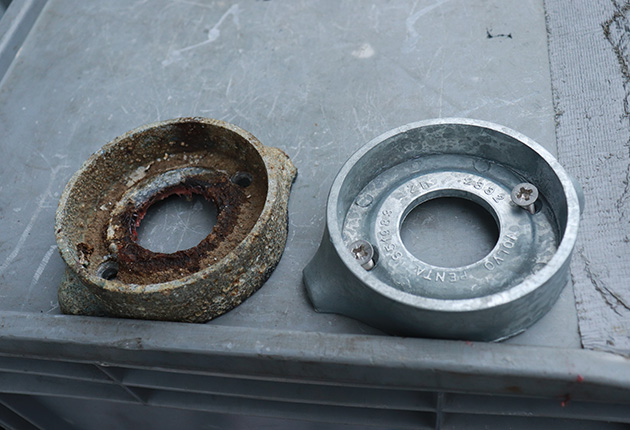 Replace the anode with the right size and shape for your saildrive so it bonds properly