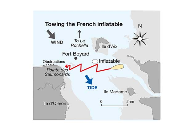A chart showing the route taken by a yacht towing a dinghy off La rochelle