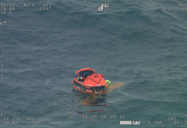 A liferaft dropped to Nigel Fox who was manoverboard. He was found thanks to his PLB
