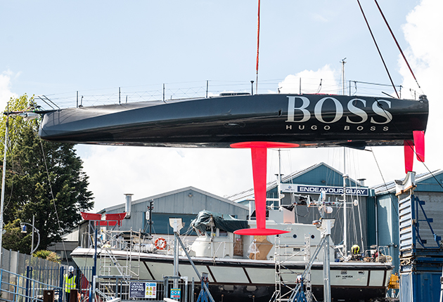 HUGO BOSS being craned back into the water in Gosport