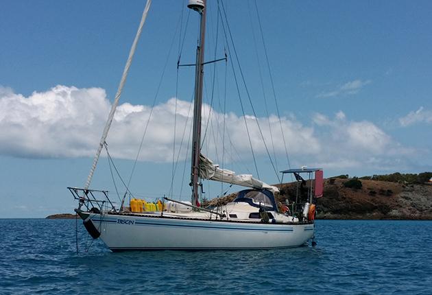 A Duncanson 34 yacht anchored off the coast of Australia