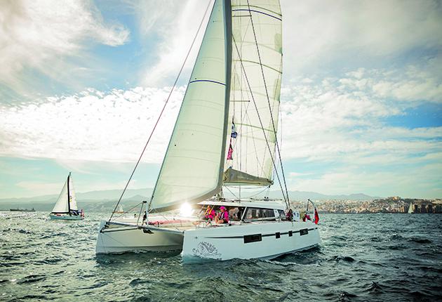 A Nautitech Open 46 catamaran being sailed in Gran Canaria