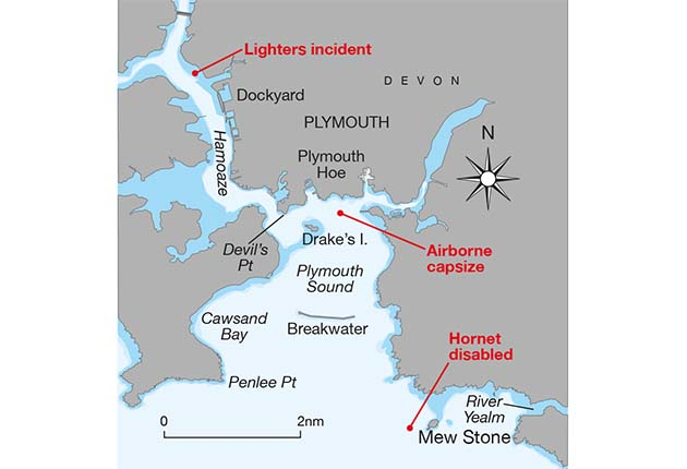 A chart showing Plymouth Sound