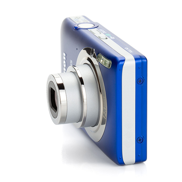 A blue and silver compact camera
