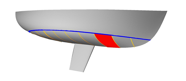 A diagram of a yacht's hull