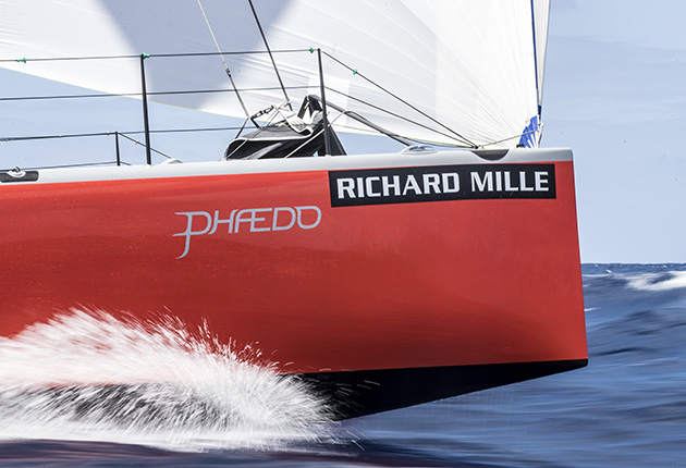 the red bow of the yacht Phaedo