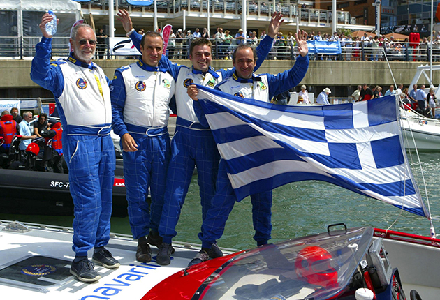 At 75, Dag Pike was part of the Blue FPT crew, which won the 2008 World Offshore Powerboat Championship.