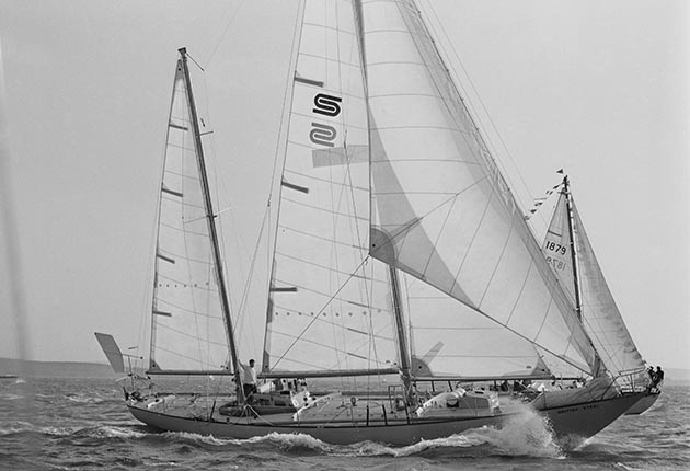 Scottish yachtsman Chay Blyth on his yacht 'British Steel', as he sets out to circumnavigate the globe westwards, single-handed, UK, 18th October 1970.