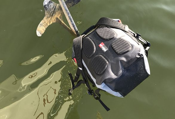 We tied the waterproof backpack to an anchor to pull it underwater. It only let in a tiny amount of water. Credit: Theo Stocker