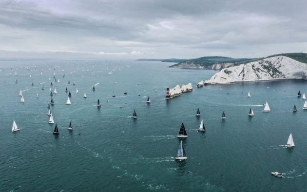 Round the Island Race competitors rounding The Needles Lighthouse, Isle of Wight. Credit: RTI/Paul Wyeth