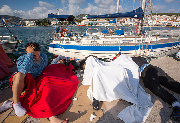 Migrants at sea having been rescued