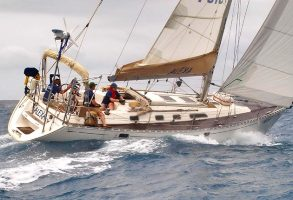 A Dufour 41 sailing hard on the wind