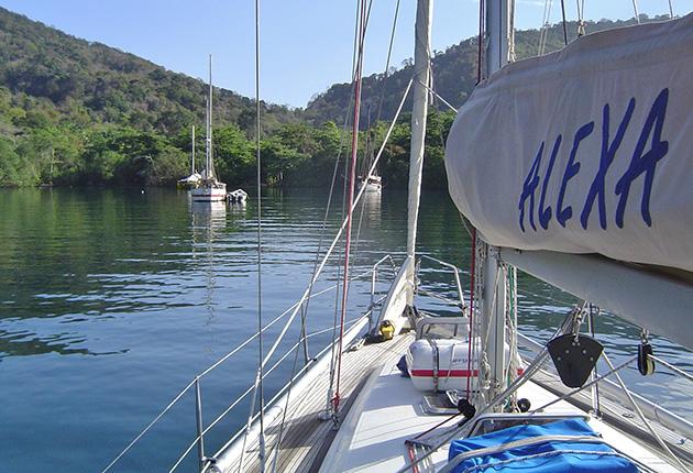 Alexa anchored in Scotland Bay before the freighter encounter
