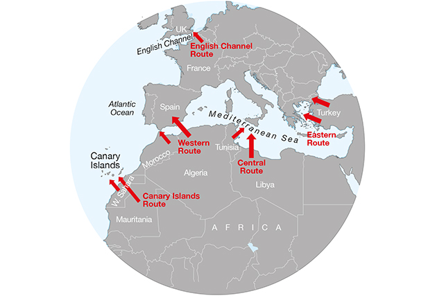 A chart showing the routes migrants at sea take