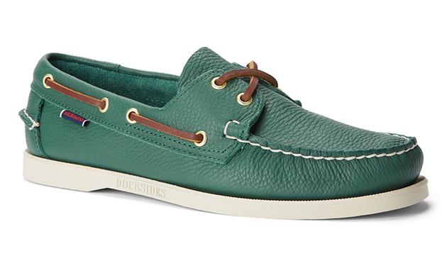 Sebago Portland Tumbled boat shoe in green