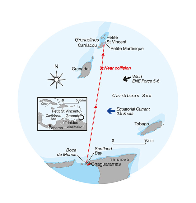 The route of Alexa and the position of her near collision with the unlit freighter