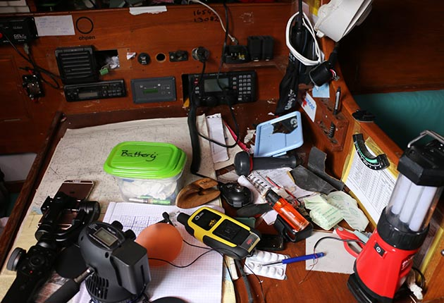 A cluttered nav station on the Rustler 36 belonging to Mark Slats, who came second in the Golden Globe Race