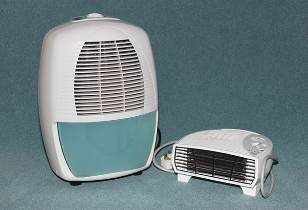 Dehumidifiers and electric fan heaters can help keep things dry down below, though a fan heater shouldn't be left on unattended