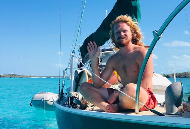 Elliott Smith sitting on his boat