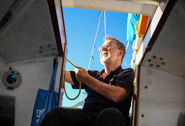 A solo skipper on his Lello 34