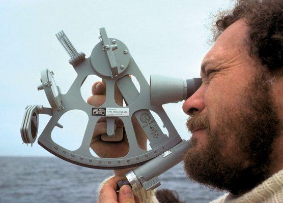 Sir Robin Knox-Johnston using a sextant