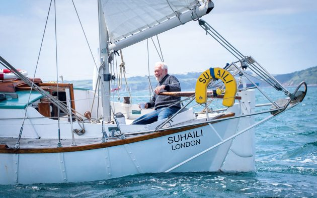 Sir Robin Knox-Johnston aboard Suhaili at the 50th anniversary Golden Globe Race celebrations in waters near Falmouth, June 14, 2018. Credit: Getty Images