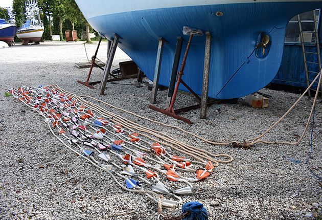 Tony Curphey drogue laid out in boatyard