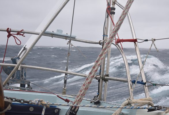 When the windvane steering can no longer cope with the seastate, it is time to deploy the drogue. Credit: Tony Curphey
