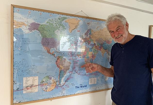 Solo circumnavigator Tony Curphey shows his circumnavigation routes