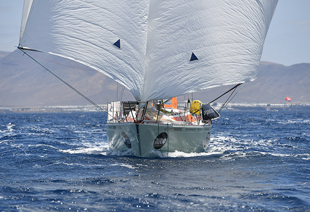 Twin headsails is a good, stable option for tradewind sailing. Set from a single foil, they can also be furled together.
