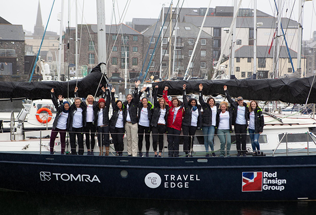 eXXpedition crew onboard their boat in Plymouth