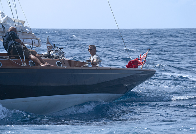 Spirit 46 being sailed by Daniel Craig in the new James Bond film, No Time to die