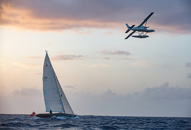 A Spirit 46 and a plane in Jamaica during the new James Bond Film, No Time to Die