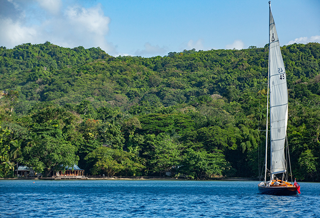 Spirit 46 yacht being sailed in Jamaica during the new James Bond film