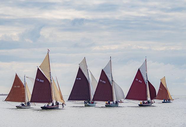 Oyster smacks sailing off the East Coast