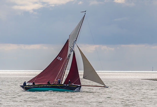 Oyster smack, Maria, here well heeled, will almost certainly have her leeward rail in the water