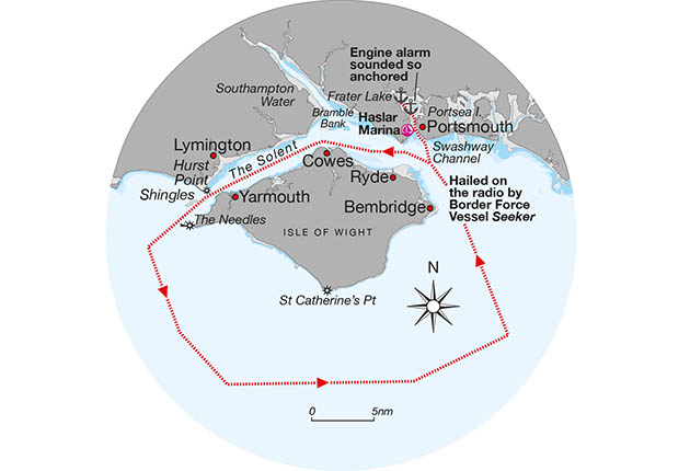 A graphic showing the passage plan of a yacht around the Isle of Wight