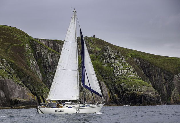 A Saltram Saga 36 sailing with white sails