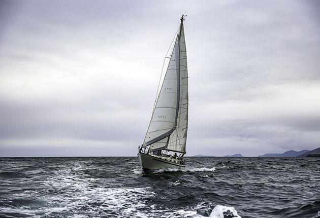 Pat Lawless sailing his Saltram Saga 36