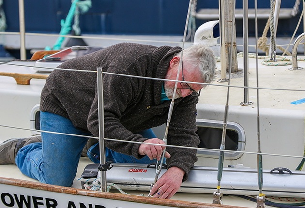 Pat Lawless on the deck of his boat