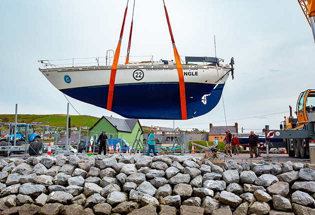 A Saltram Saga 36 being lifted out of the water