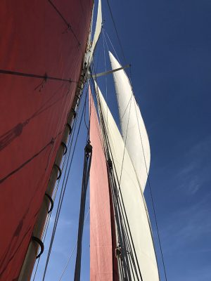 The jib topsail (top right), a free-flying sail, is set from the bowsprit to the topmast. The topsail (far top left) is set between the gaff and the topmast