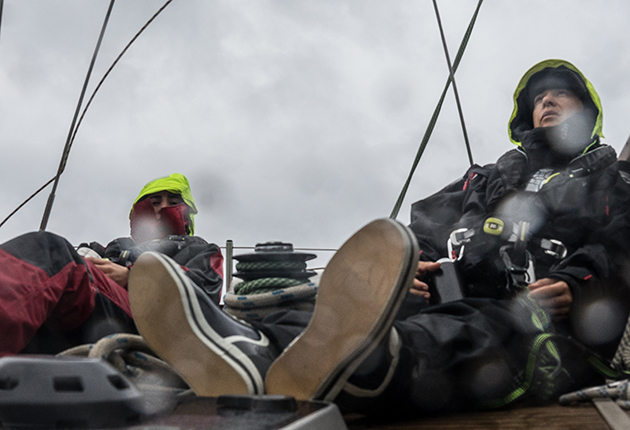 Crew on a yacht during a rough crossing
