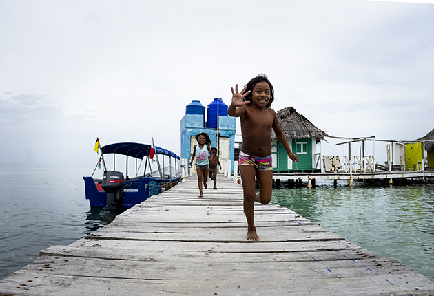The Guna Yala tribe's way of life is threatened by rising sea levels, with some communities already moved to mainland Panama. Credit: Sophie Dingwall