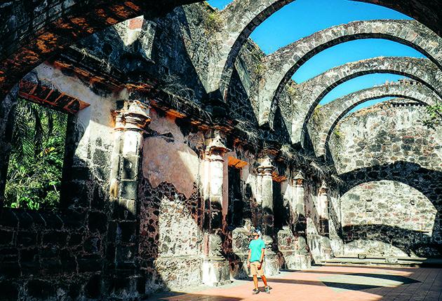 The ruins of the vaulted church, Templo de la Virgen del Rosario, built in 1769 at San Bla