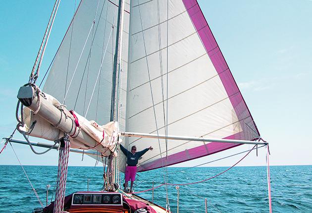 Downwind white sails
