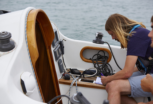 Toby Heppell recording data from a Contessa 26